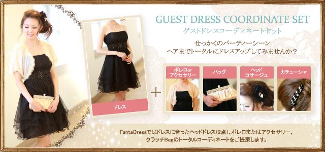 ゲストドレスコーディネートセット せっかくのパーティーシーン ヘアまでトータルにドレスアップしてみませんか?