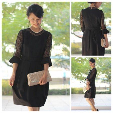 eda6f3b279c3e Lona(ロナ)~ Kaene 光沢ブラックお袖ブロックレースドレス~ コーデ5点セット. なんだかクラシカルな映画のワンシーンに出てきそうなこのドレス 。