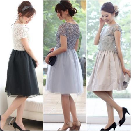 6a0c2d8a2d523 お袖があるフィット&フレアのドレスも一枚で華やかDressアップが完成します!レース使いや張り感のあるタフタのスカートがとってもCute♡