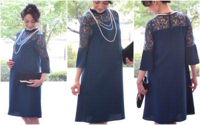 5250fdbf59a2b お袖がしっかりあって、クラシカルな襟元も上品。高級感のあるレースがデザインされたトップスの透け感が華やかさをプラスするドレスです。ネイビー&ブラックをお探し  ...